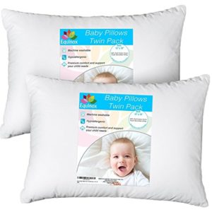 "[2-Pack] Equinox Baby Toddler Pillow Set - 13"" x 18"" Toddler Bedding Small Pillow - Baby Pillow with 100% Cotton Cover"