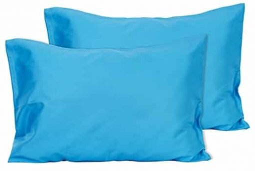 2 Dark Turquoise Toddler Pillowcases - Envelope Style - For Pillows Sized 13x18 and 14x19 - 100% Cotton With Sateen Weave - Machine Washable - 2 Pack