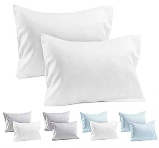 2 White Toddler Pillowcases - Envelope Style - 100% Cotton 400 TC Soft Sateen Weave - For Travel Pillows 14x19 or 13x18 - Toddler Pillow Cases White Toddler Pillowcase Covers Kids Travel Pillow Cases