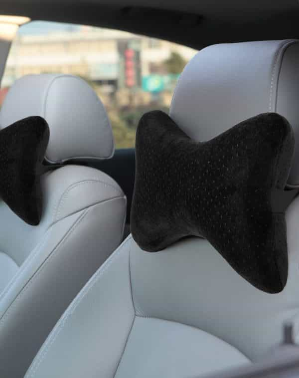 AERIS Car Neck Pillow for Head Support, Premium Memory Foam Headrest Pillow with Adjustable Strap and Portable Bag, Maximum Neck Support for Car Seat, Can be Used as a Small Travel Pillow