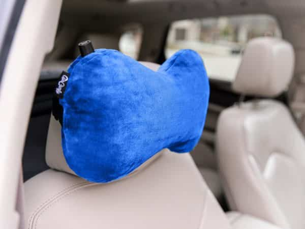 AirComfy Ease Inflatable Neck Travel Pillow -Luxuriously Soft Washable Cover - Ergonomic Neck and Lumbar Support for Prevention of Cervical and Lower Back Pain - Blue
