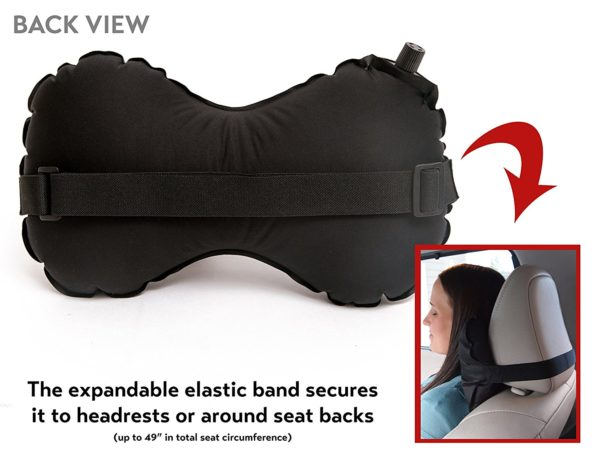 AirComfy Inflatable Neck-Lumbar Pillow - Cervical Neck Support and Lumbar Back Pain Prevention with Airplane Travel Packsack