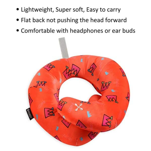 BCOZZY Chin Supporting Travel Neck Pillow - SquaresGeometric (CHILD, Orange Queen)…