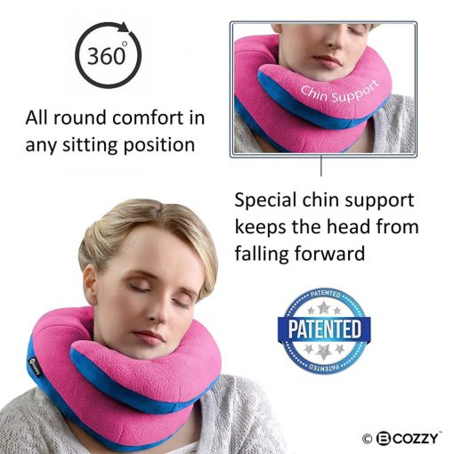 BCOZZY Chin Supporting Travel Pillow - Supports the Head, Neck and Chin in Maximum Comfort in Any Sitting Position. A Patented Product. Adult Size, PINK