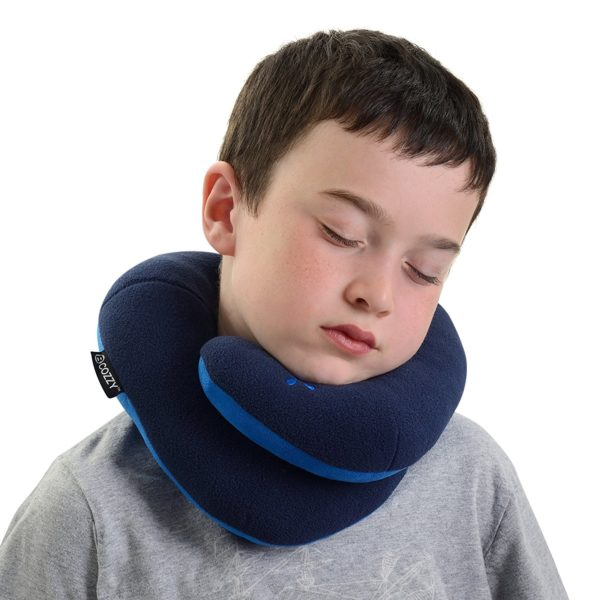 BCOZZY Kids Chin Supporting Travel Neck Pillow - Supports the Head, Neck and Chin in Maximum Comfort. A Patented Product. CHILD Size, NAVY