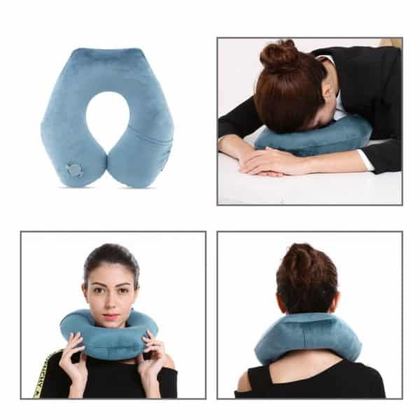 BestMaxs Inflatable Travel Pillow, Travel Pillows for Airplanes with Washable Pillowcase Mouth Blowing Inflatable Neck Pillow-Deep Gray