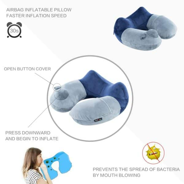 BestMaxs Travel Pillow, Travel Pillow for Airplanes with Multifunctional Travel Package Hump Design Travel Accessories (Deep Blue)