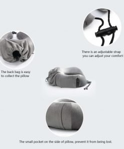CLOUDWING Travel Pillow - U Shape Portable Memory Foam Neck Pillow Best for Airplane Travel,Driving,Studying,Working,Home and Camping,Removable and Washable Soft Velour Cover (Grey)