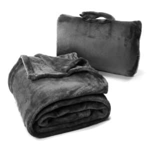 Cabeau Fold 'n Go Travel Blanket & Case - Doubles as Lumbar Pillow and Neck Support Pillow - Charcoal