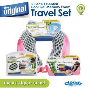 Cloudz Cool Gel & Bamboo Memory Foam Travel Kit - Pink