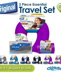 Cloudz Microbead Travel Neck Pillow, Sleep Mask & Compact Blanket Travel Kit - Bright Purple