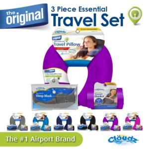 Cloudz Microbead Travel Neck Pillow, Sleep Mask & Compact Blanket Travel Kit - Bright Purple