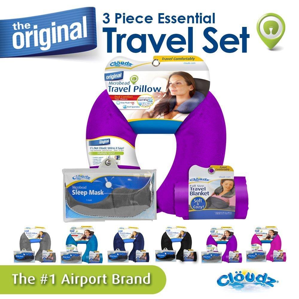 Compact Blanket Travel Kit Cloudz Microbead Travel Neck