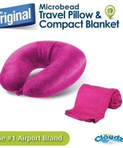 Cloudz Microbead Travel Pillow & Compact Blanket Set - Bright Pink