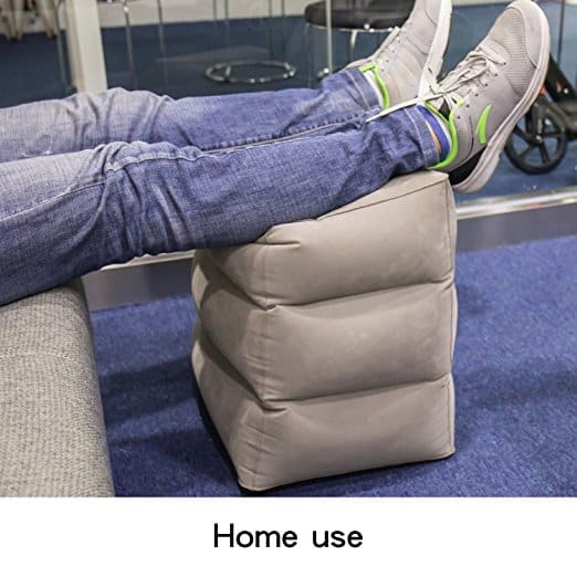 ComboCube Travel Foot Rest Pillow, Inflatable Adjustable Height Pillow for Foot Rest on Airplanes, Cars, Buses, Trains, Office, and Kids to Sleep on Long Flights