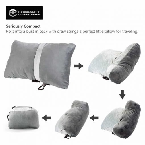 Compact Travel Pillow Made with Shredded Memory Foam and Super Soft Fleece Fabric for Ultimate Comfort in Travel. Patented Design Rolls and Compacts Small for Travel