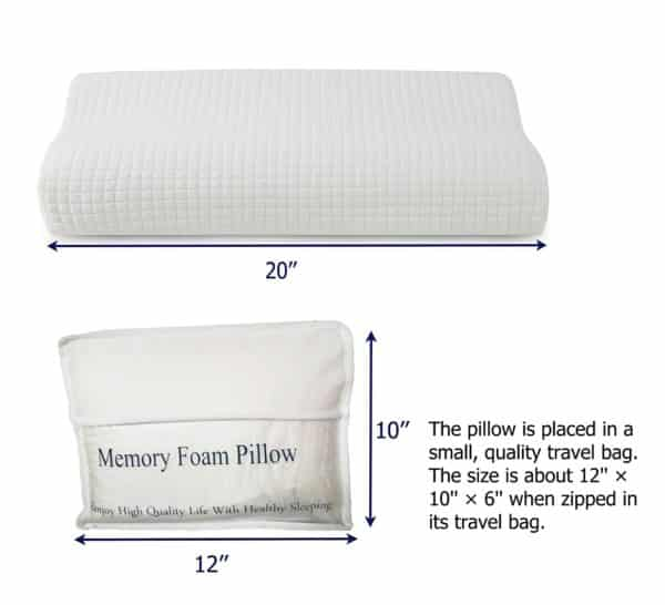 Contour Memory Foam Pillow for Neck Pain Relief, Orthopedic Cervical Support Pillow with Washable Pillow Cover, Small Travel Size Pillow