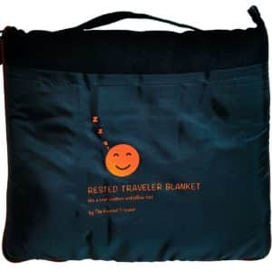 Cozy Airplane Travel Blanket with a Neck Pillow, Sleeping Mask and Foam Ear Plugs. The Travel Blanket Set you'll love!