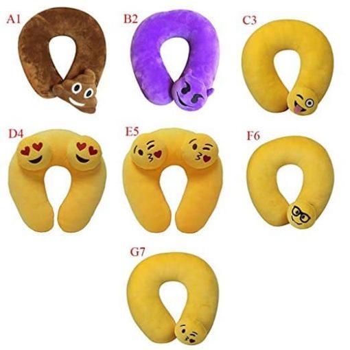 Cute Feces Emoji Emoticon Memory Foam U Shaped Travel Pillow Neck Support Head Rest Cushion - Ideal Gift ,Tuscom (#1)
