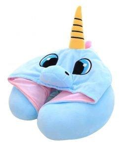 DPIST Unicorn Hooded Animal Travel Neck Pillow Polyester Neck Pillow Support Cushion Unicorn Hoodie Funny Gifts for Children and Women
