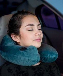 Daydreamer Inflatable Neck Travel Pillow - Luxuriously Soft Washable Cover and Compact Packsack with Travel Clip - for Lightweight Support in Airplane, Car, Train, Bus and Home - Gray