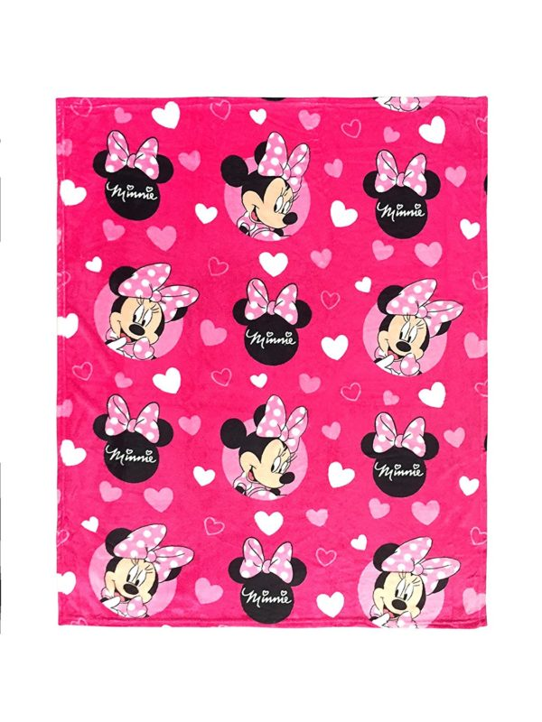 "Disney Minnie Mouse 3 Piece Travel Set with 40"" x 50"" Blanket, Plush Neck Pillow, & Eye Mask (Official Disney Product)"