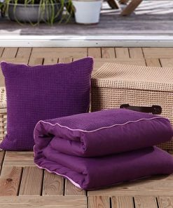 Dovewill Dual-use Pillow Blanket Set Multi-use Bolster for Car Home Office Travel Outdoor - Purple, L 2
