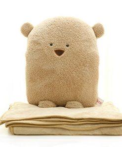 Dr.Luck 3 in 1 Bear Travel Blanket & Hand Warm & Pillow Set Adults Kids Throw Pillow Cushion (Brown)