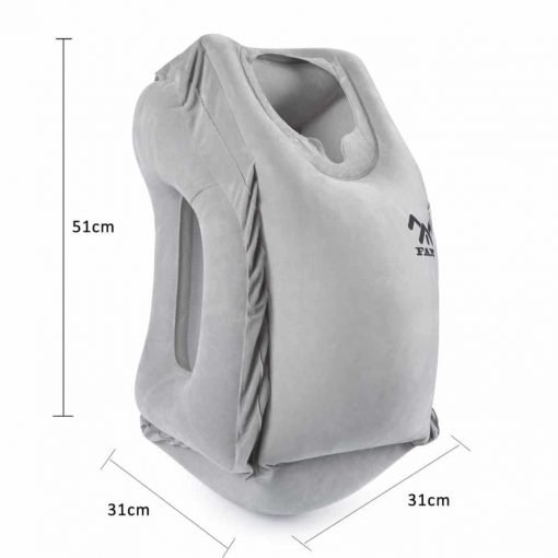 FAMY Inflatable Travel Pillow,fast inflatable pillow, ergonomic portable travel pillow, fit travel pillow, plane pillow, train, bus, office, travel pillow, full support, soft PVC flocking(Grey)