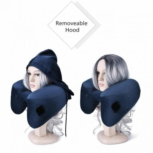 Famomeindicated Inflatable Travel Pillow Set for Airplanes, Multifunction Traveling Neck Pillow Set with Hood for Women Men Kids, Soft Small Portable, Supports Head Chin, Dark Blue