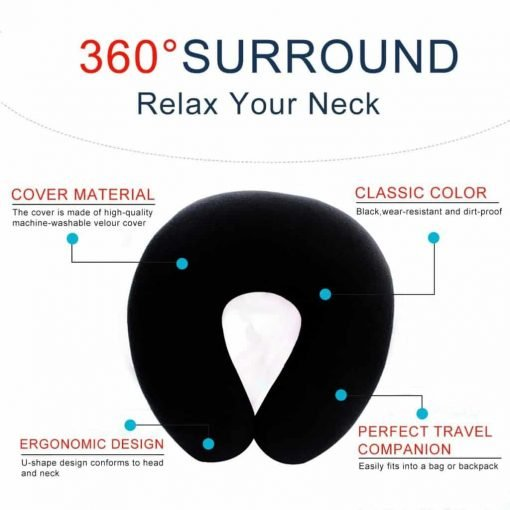 HIPPIH Soft & Comfortable Neck Pillow 100% Memory Foam Airplane Travel U-Shape Neck Pillows with Soft-plush Fabric Cover for Restful Sleep, Black