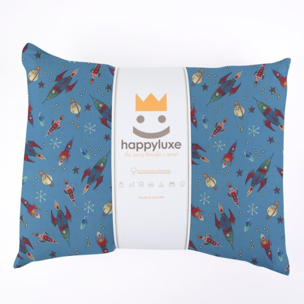 HappyLuxe Expedition Travel Pillow and Pillowcase for Kids, Machine Washable and Hypoallergenic. For Toddlers, Airplane, Car, Camping, Sleepovers, 13 x 18, 100% Cotton, Made in the USA, To the Moon