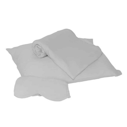HappyLuxe Paris Luxury Travel Set, Travel Pillow, Wrap, and Sleep Mask. Great for Airplanes, Trains, Ships, Buses, or any other Journey. Travel in Comfort, Made in USA (Cool Gray)
