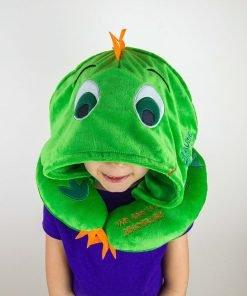 HoodiePillow Pals Travel Pillow - Green Dinosaur