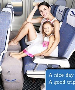 Inflatable Travel Footrest for Airplanes, Foot and Leg Rest Travel Pillow - Kids' Bed to Lay Down Flat on Flights (Grey)