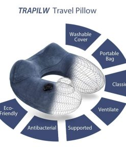 Inflatable Travel Pillow, Neck Pillow - Ergonomic, Patented & Best Adjustable for Airplane, Auto, Bus, Train, Office Napping, Camping, Wheelchairs (Deep Blue)