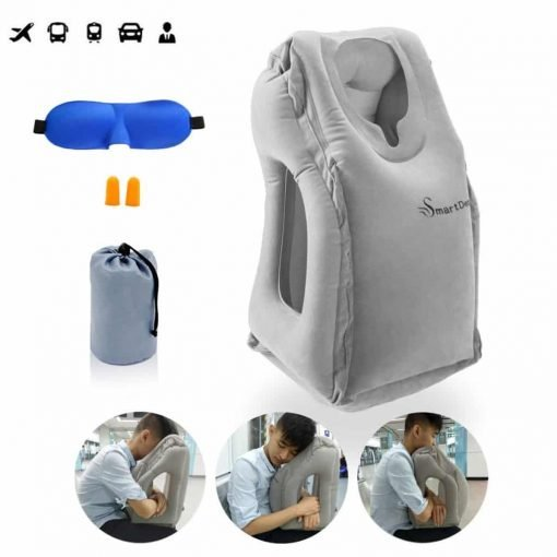 Inflatable Travel Pillow, SmartDer Airplane Pillow, Neck Pillow for Airplane Travel, Travel Pillows for Airplanes & Office Napping with Head & Neck Support (Grey)