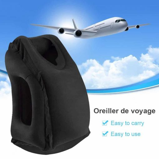 Inflatable Travel Pillow,Htianc Airplane Portable Head Neck Rest Pillow,for Airplane Multifunctional Neck Pillow Full Body,Cars,Buses,Trains,Office Napping,Home and Camping(Black)