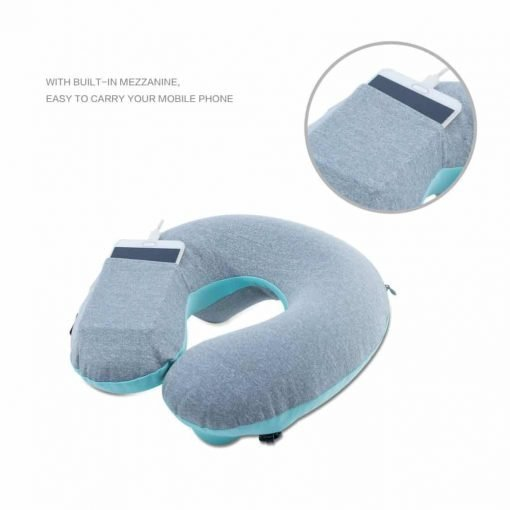 Inflatable Travel Pillow,Kmall Compact Travel Pillows for Airplanes Summer Cool Inflatable Neck Pillow Support Head and Neck(Blue)