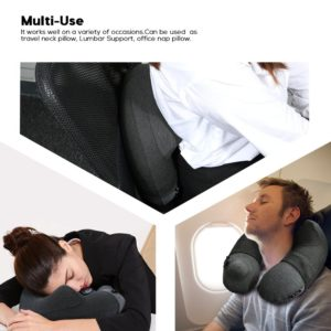 Inflatable Travel Pillow,Kmall Cool Travel Pillows for Airplanes Comfortable U Shape Inflatable Neck Pillow With Head and Neck Supports for Airplanes Travel,Car,Driving(Grey)
