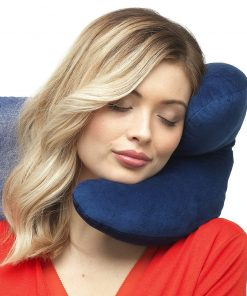 J Pillow Travel pillow - Head, Chin, Neck Support - Maximum Comfort in Any Sitting Position for Airplanes, Cars, Trains, Machine Washable, attach luggage - British Invention of the Year - Dark blue