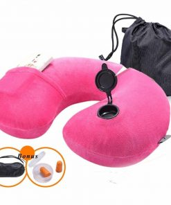 JCFamily Inflatable Travel Neck Pillow for Airplanes with Packsack - 3 Seconds Inflate Full (Pink)