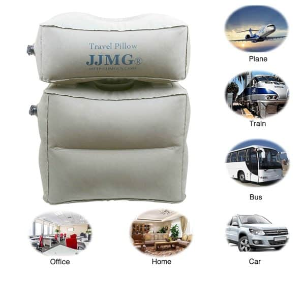 JJMG New Inflatable Adjustable Detachable Leg Rest Travel Pillow On Long Flights