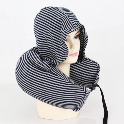 JOODS U Shaped Pillow With Hat Pillow Ties Memory Neck Travel Sleeping Bedding Body Pillow Navy blue