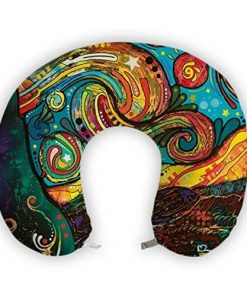 JessPad U-Shape Travel Pillow Colorful Painting Art Memory Foam Neck Pillow