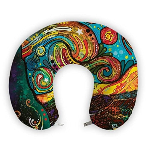 JessPad U-Shape Travel Pillow Colorful Painting Art Memory Foam Neck Pillow