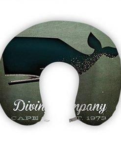 JessPad U-Shape Travel Pillow Dark Blue Shark On Sea Memory Foam Neck Pillow