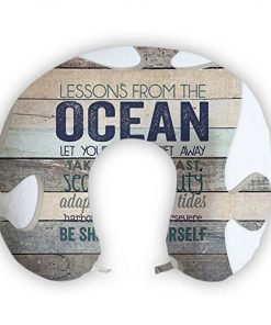 JessPad U-Shape Travel Pillow Lessons From The Ocean Memory Foam Neck Pillow