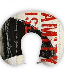 JessPad U-Shape Travel Pillow Vintage Amity Red And Black Memory Foam Neck Pillow