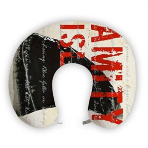 JessPad U-Shape Travel Pillow Vintage Amity Red And Black Memory Foam Neck Pillow